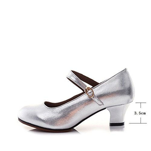 Shoes Dance Leather Cowhide E39 Soft 3 Adult Shoes Square Ballroom WXMDDN Silver Ballroom 5CM Women's Shoes Ballroom Shoes Latin Dancing Shoes Indoor pqdnCvtwx