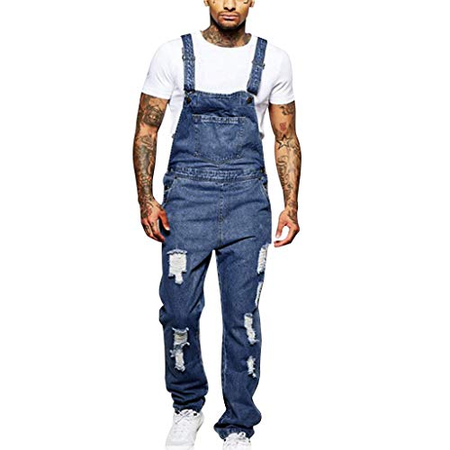 - Suspender Pants Mens Hole Pocket Jeans Overall Jumpsuit Streetwear Overall Blue