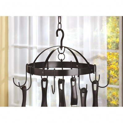 Mini Round Pot Hanger - Smart Living Company 10039003 Mini Round Metal Hanging Pot Rack Hanger Ideal for Small Kitchens, None, Black