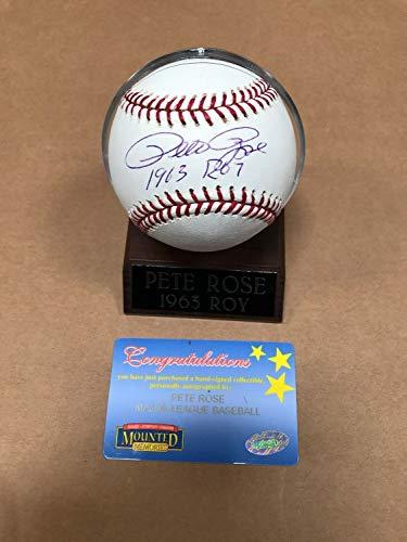 Pete Rose Autographed Signed Baseball 1963 Roy Inscription Mouned Memories - Authentic Memorabilia