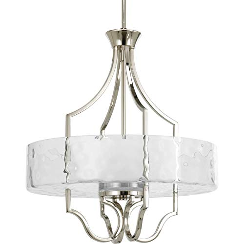 Caress Collection - Progress Lighting P3682-104 Caress Collection 3-Light Foyer Pendant, Polished Nickel