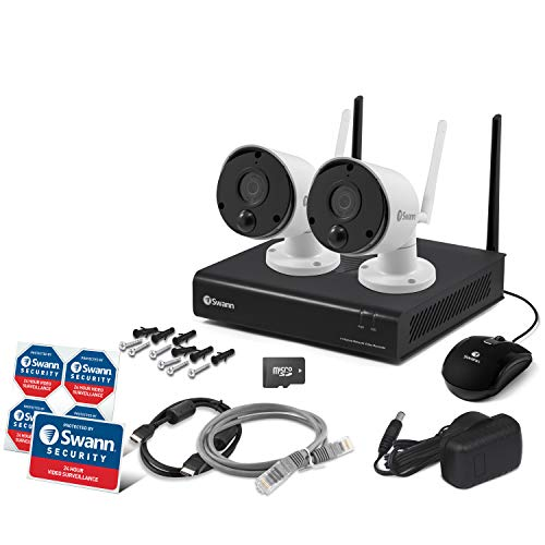Swann 2 Camera 4 Channel 1080p Wi-Fi NVR Security System | 16GB SD Card, Heat & Motion Sensing + Night Vision & 2 Way Audio