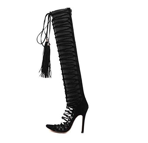 Tassels Haute - Sandales à talons creux Sandales hautes pour aider après les bottes Zipper Lace Up avec des chaussures pour femmes minces , black , 38