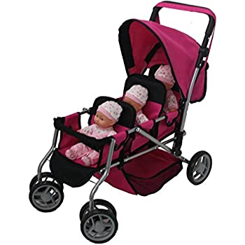 Mommy & Me TRIPLET Doll Pram Back to Back with Swiveling Wheels & Free Carriage Bag - 9668A