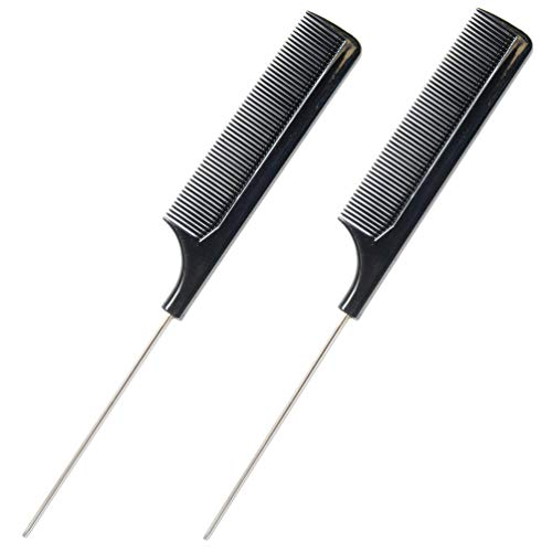 Luxxii (2 Pack) 8.75 Rat Tail Stainless Steel Pintail Comb Fine-tooth Hair Comb - Heat and Chemical Resistant For All Hair Types