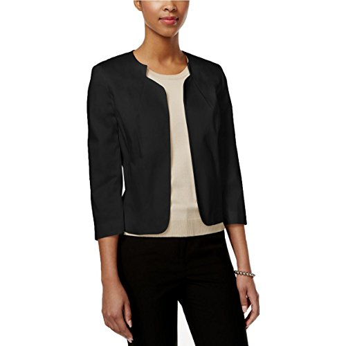 Collarless 3/4 Sleeve (Tahari ASL Womens Collarless 3/4 Sleeve Basic Jacket Black 4)