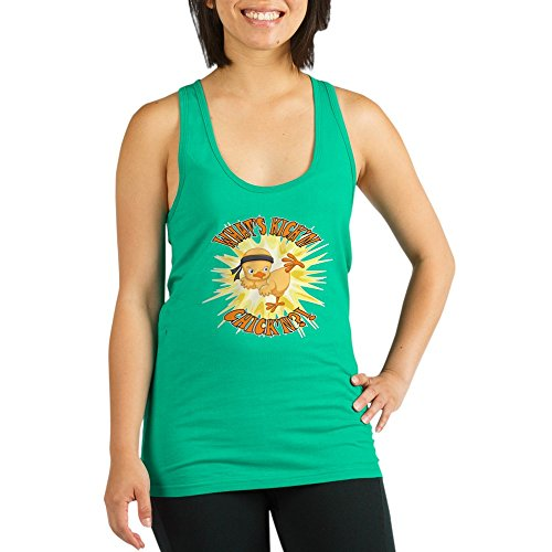 Truly Teague Women's Racerback Tank Top Dk Kick'n Chick'n Martial Arts Baby Chick - Teal, - Top Chickn