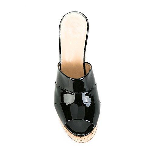 Sandali Venatura 34 Zhang8 Piattaforma Infradito Nero black Legno Argento Pendenza Ciabatte Black Del Manuale Pu Donna vvrqwWf6ag