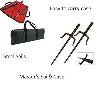 """Masters Deluxe Sai Black Steel with Carry Case - 15"""" Black"""