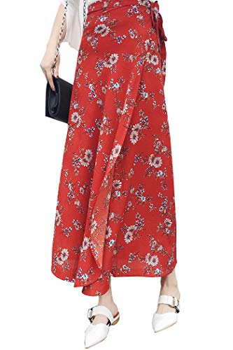 Ababalaya Wrap Skirt, Floral Maxi Skirts for Women Boho Cover Up Summer Long Skirts for Travel Beach, Floral 7
