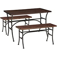 ACME Domingo Dining Set (3 Pack), Walnut and Antique Black