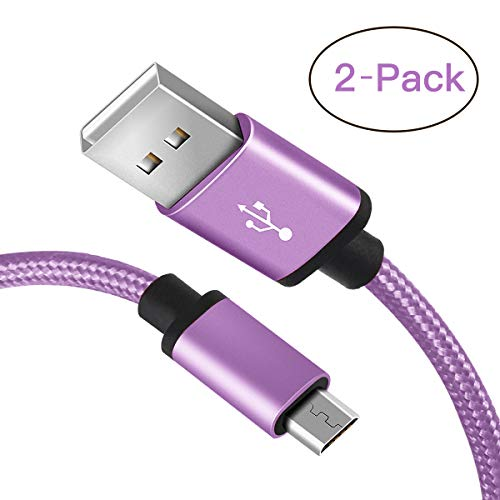 for Samsung S7 Charger Cable, Benicabe (6FT 2-Pack) Micro Sync and Fast Charging Cord for Samsung Galaxy S7 Edge/ S6 Note 5, Nexus,Kindle, Android Charger and More (Lilac Purple)