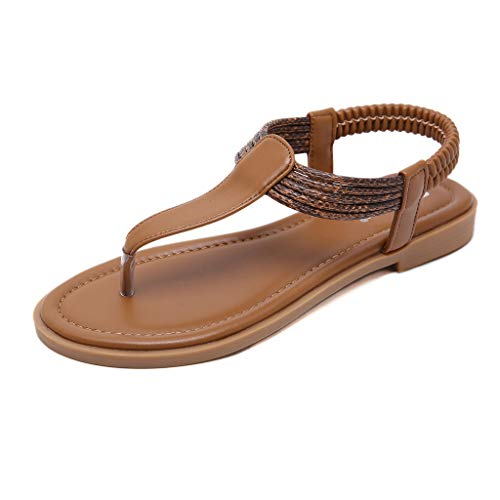 (Flip Flop Sandals for Women Clip Toe Comfortable Elastic Band Summer Beach Creepers)