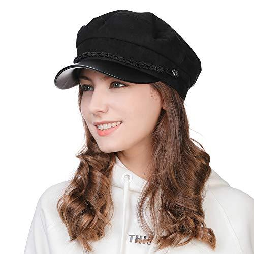 Womens Newsboy Cap Baker Berets Fisherman Conductor Greek Hat Winter Sailor Fiddler Casual Fashion Cancer Amazon Black
