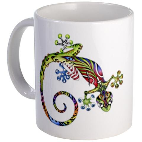 ART GECKO Original Lizard Drawing on an 11oz Ceramic Coffee Cup Mug Artwork by Tracey by Creative Clam