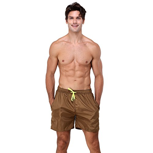youvimi Men's Striped Printed Beach Shorts Swim Trunks with Mesh Lining