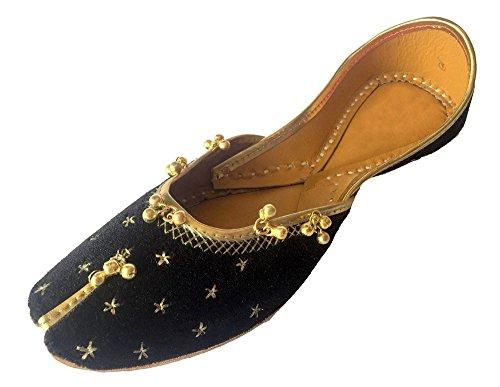 46957a6e2d6ec Step n Style Women's Black Khussa Shoes Punjabi Ghungroo Jutti Ethnic  Mojari Handmade Jaipuri Ballerina Shoes US 9