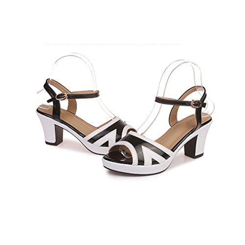 on Comfy Dress Women JULY Sandals Heel Fashion Black Pumps Ladies T Chunky Platform Womens Slip Peep Toe for Casual OPZdaRnqx
