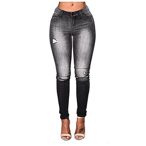 Gemgeny Women's High waist Ripped Knee Distressed Jeans Black Denim Pants (S, Black) - Co Black Denim