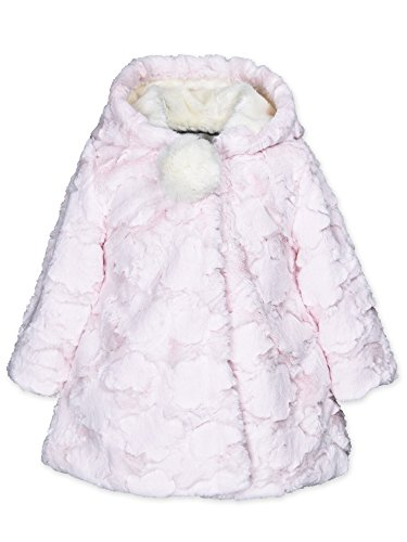 Widgeon Little Girls' Pompom Hooded Faux Fur a-Line Coat 3620, Club/Blossom Cloud, 6 A-line Coat