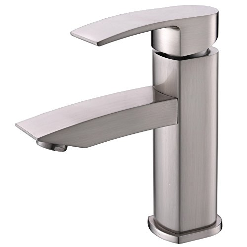 Hotis Widespread Single Handle Single Lever Centerset Stainless Steel Lavatory Bathroom Vanity Faucet Faucet, Brushed Nickel with Supply Lines