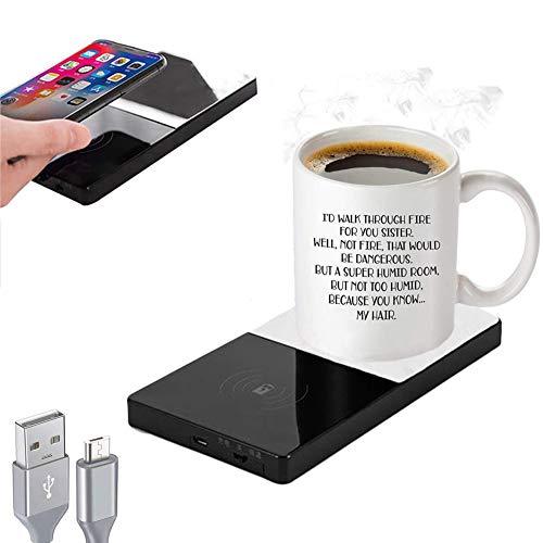 Coffee Mug Warmer, 3-in-1 Auto Shut Off Electric Beverage Mug Warmer Plate, QI Wireless Charger & Coffee Mug Warmer…