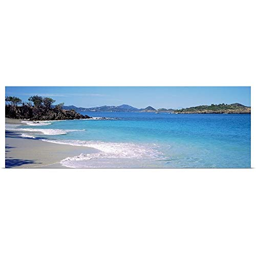 GREATBIGCANVAS Poster Print Entitled Waves Crashing on The Beach, Turtle Bay, Caneel Bay, St. John, US Virgin Islands by - Beaches Caneel Bay