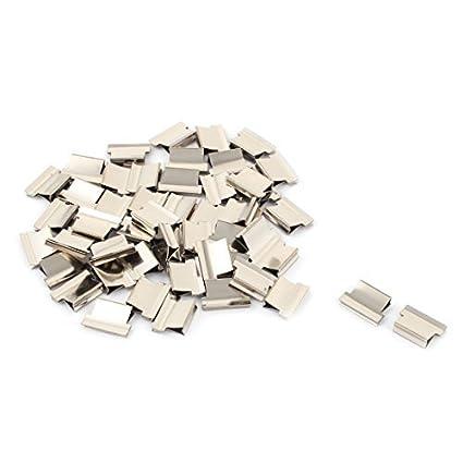 DealMux metal Escritório Clam Clipe Folha de papel dispensador grampeador Fastener 52 Pcs Silver Tone