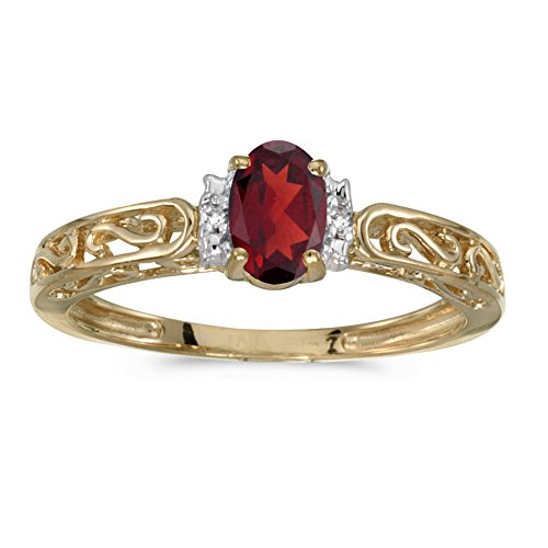 14k Ring Natural Gold Garnet (14k Yellow Gold Oval Garnet And Diamond Ring)