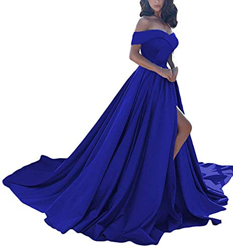 (Scarisee Women's A-line Off Shoulder Prom Evening Dresses with High Split Formal Long Wedding Party Gowns Royal Blue 18W)