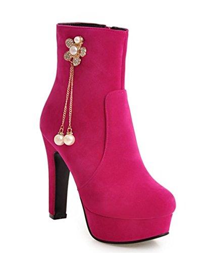 Tempérament Pomme de Bottes Chaussures Femmes rose Elégant Chaussures de Stiletto Chaussures HETAO Chaussures Martin Chaussures Cheville red Talons Heel personnalité AFfnw6q