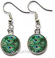 QUVLOTIAZJ Peacock Feathers Earrings, Peacock Stud Earrings, Bird Feathers, Blue and Emerald Green Peacock Ear