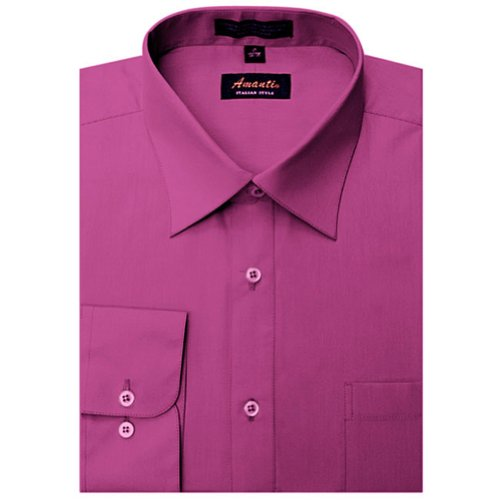 Amanti Fuchsia Colored Men's Dress Shirt Long Sleeve Classic 17.5-32/33