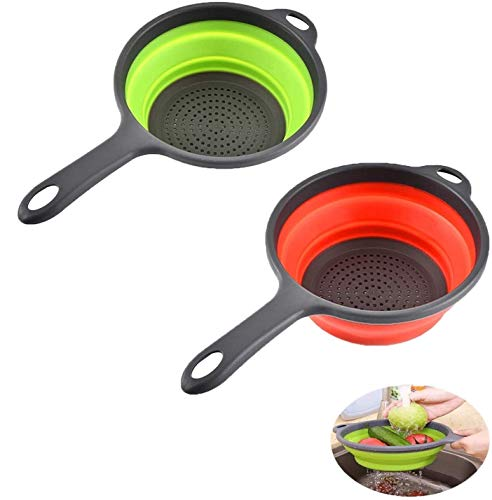ddLUCK 2 Pack Kitchen Foldable Silicone Strainer Colanders, Collapsible Colanders with Handles, Space-Saver Folding Strainer Colander for Draining Pasta, Vegetable (Green and Red)