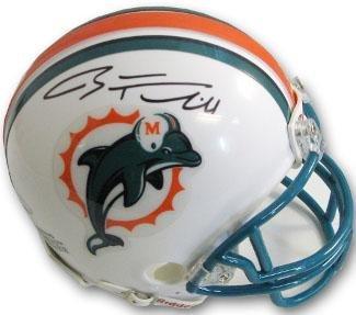 (Ryan Tannehill Signed Helmet - Riddell TB old logo Mini teal face mask black sig)- Holo - Autographed NFL Mini Helmets)