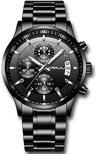 CRRJU Men's Fashion Staonless Steel Watches Date Waterprood Chronograph Wristwatches,Stainsteel Steel Band Waterproof Watch