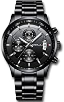 CRRJU Men's Six-pin Multifunctional Chronograph Wristwatches,Stainsteel Steel Band Waterproof Watch
