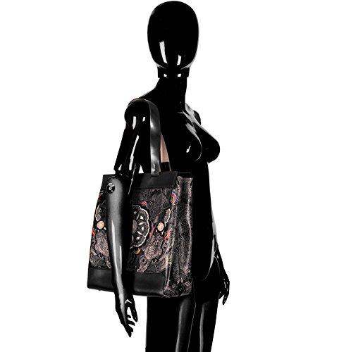 COLOURS OF MY LIFE , Damen Tote-Tasche Mehrfarbig schwarz unique