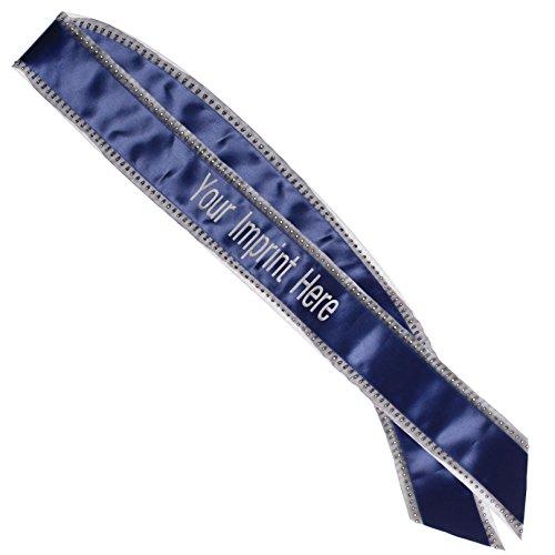 Navy Blue Bling Edge Custom Sash, Bachelorette, Birthday & Coronation Sash