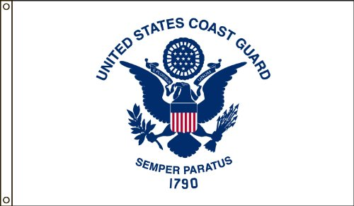 America's Flag Company 3-Foot by 5-Foot Nylon Coast Guard Flag with Canvas Header and Grommets