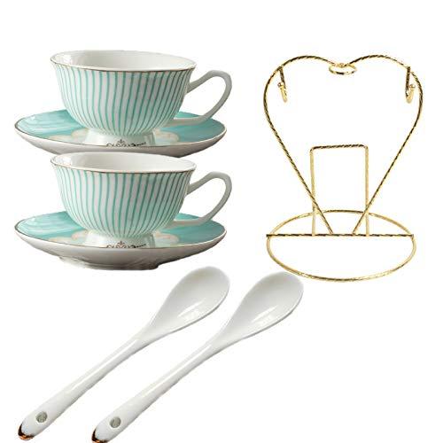 Cha JingDe Vintage Blue Bone China Teacup Coffee Cup Spoon and Saucer Set Of 2 (Blue)