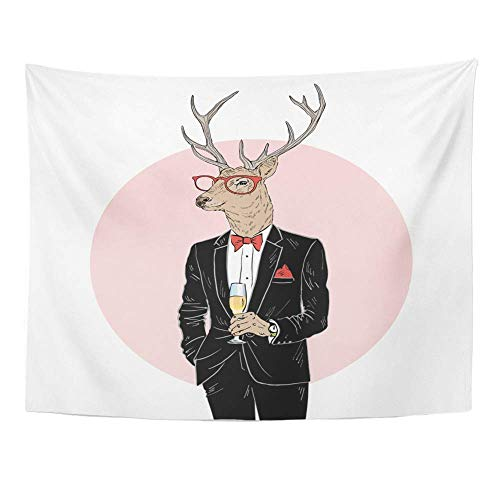 Remain Unique Tapestry Deer Man Dressed Up in Tuxedo Champagne Merry Christmas Character Furry Animals Wall Hang Decor Indoor House Made in Soft