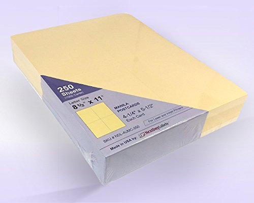 8-1/2'' x 11'' Laser/Inkjet Postcards 4 Per Page, (4-1/4'' x 5-1/2'' Each Card) 250 Sheets / 1000 Cards (Manila)