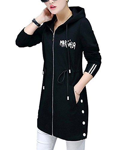 Mujer Delgado Larga Abrigo Chaqueta Con Capucha Cremallera Ocio Abrigo Negro