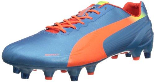 PUMA Men's Evospeed 1.2 Mixed Soft Ground Soccer Shoe,Sharks Blue/Fluorescent Peach/Fluorescent Yellow,10.5 M US