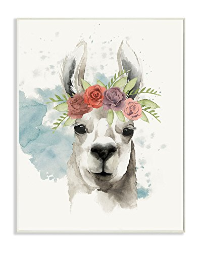 (The Stupell Home Decor Collection Watercolor Llama Del Rey Wall Plaque Art Artwork, 10