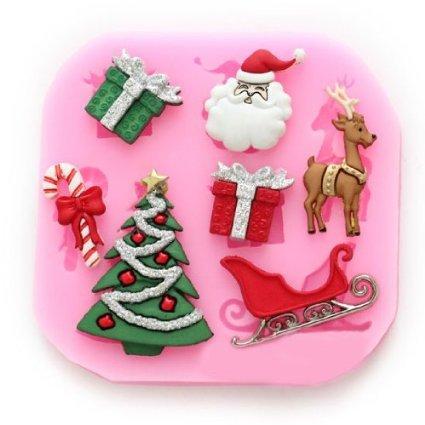 Longzang No.534 Christmas Fondant Silicone Sugar Mold Cake Decorating, Pink