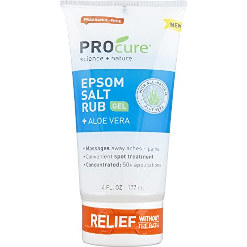 PROCURE Epsom Salt Rub Gel with Aloe Vera, 6 Fluid oz. (Pack of 3); Soothes Muscle Tension, Aches & Pains Directly Where It Hurts. Aloe Vera Salt Cream