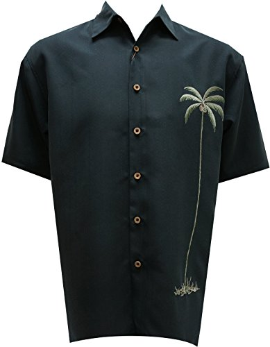 Bamboo Cay Mens Single Palm, Embroidered Short Sleeve Hawaiian Shirt (3XL, Black)