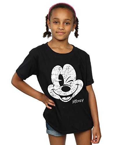 Disney Girls Mickey Mouse Distressed Face T-Shirt